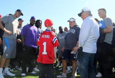 The Patriots and owner Robert Kraft welcomed the 17-year-old to a practice field at Gillette Stadium.
